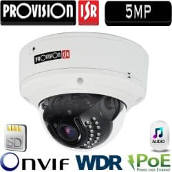 """מצלמת כיפה IP אנטי וונדל אינפרה רזולוציה 5MP עדשה משתנה 3-11 מ""""מ כולל PoE כולל WDR מלא (120db) חיישן 21 אודיו דו כיווני"""