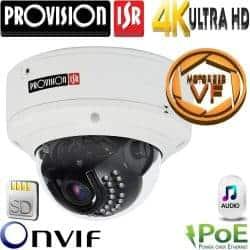 """מצלמת כיפה IP אנטי וונדל אינפרה רזולוציה 8MP עדשה חשמלית 3-11 מ""""מ כולל אנליטיקה מתקדמת"""
