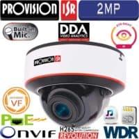 """מצלמת כיפה 2MP עדשה חשמלית 2.8-12 מ""""מ אנליטיקה DDA אנטי וונדל מיקרופון מובנה WDR"""