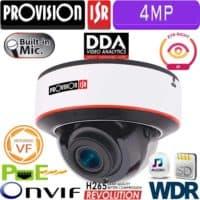 """מצלמת כיפה 4MP עדשה חשמלית 2.8-12 מ""""מ אנטי וונדל, אנליטיקה DDA מיקרופון WDR"""