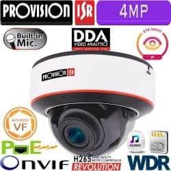 """מצלמת כיפה 4MP עדשה חשמלית 2.8-12 מ""""מ אנטי וונדל, מיקרופון WDR"""