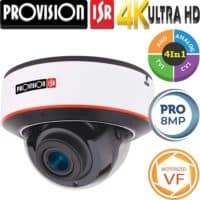 """מצלמת כיפה אנטי וונדל 8MP עדשה חשמלית 2.8-12 מ""""מ סדרה Pro מרחק אינפרה 40 מטר"""