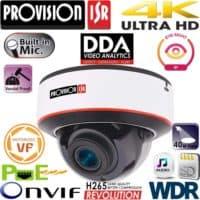 """מצלמת כיפה 8MP עדשה חשמלית 2.8-12 מ""""מ אנטי וונדל, אנליטיקה DDA מיקרופון WDR"""