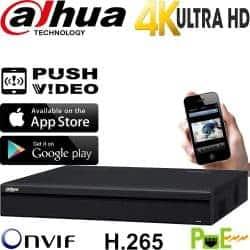 מערכת הקלטה NVR ל 8 מצלמות אבטחה IP כולל PoE רזולוציה 4K 8MP דיסק 1TB דגם NVR4108HS-P-4KS2