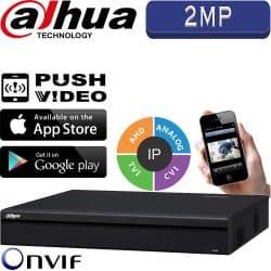 מערכת הקלטה היברידית XVR ל 16 מצלמות אבטחה 2MP בנוסף 8 מצלמות IP דיסק 2TB יציאת ממסרים דגם DHI-XVR5116HE