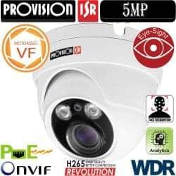 """מצלמת כיפה אינפרה IP רזולוציה 5MP עדשה חשמלית 3.3-12 מ""""מ כולל WDR"""