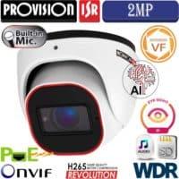 """מצלמת כיפה 2MP עדשה חשמלית 2.8-12 מ""""מ  אנליטיקה, מיקרופון מובנה כולל WDR"""