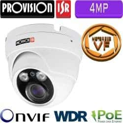 """מצלמת כיפה IP ברזולוציית 4MP, עדשה חשמלית משתנה ממונעת 3.3-12 מ""""מ, WDR מלא (120db) מרחק הארה 25 מטר"""