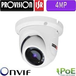 """מצלמת כיפה אינפרה IP רזולוציה 4MP עדשה 3.6 מ""""מ כולל PoE מרחק הארה 15"""