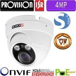 """מצלמת כיפה IP ברזולוציית 4MP, עדשה חשמלית משתנה ממונעת 3.3-12 מ""""מ מרחק הארה 25 מטר"""