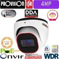 """מצלמת כיפה 4MP עדשה חשמלית 2.8-12 מ""""מ  אנליטיקה DDA, מיקרופון מובנה כולל WDR"""