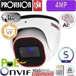 """מצלמת כיפה 4MP עדשה חשמלית 2.8-12 מ""""מ מיקרופון מובנה חריץ כרטיס זיכרון"""