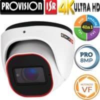 """מצלמת כיפה אינפרה 8MP עדשה חשמלית 2.8-12 מ""""מ סדרה Pro מרחק אינפרה 40 מטר"""