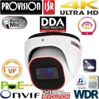 """מצלמת כיפה 8MP עדשה חשמלית 2.8-12 מ""""מ אנליטיקה DDA, מיקרופון מובנה כולל WDR"""