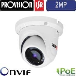 """מצלמת כיפה אינפרה IP רזולוציה 2MP עדשה 3.6 מ""""מ כולל PoE מרחק הארה 15"""
