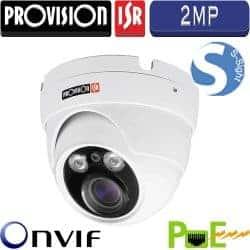 """מצלמת כיפה אינפרה IP רזולוציה 2MP עדשה משתנה 2.8-12 מ""""מ כולל PoE מרחק הארה 25"""