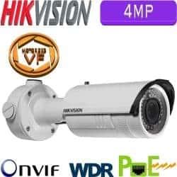 """מצלמת צינור IP אינפרה 4MP עדשה חשמלית 2.8-12 מ""""מ כולל WDR מלא דגם DS-2CD2642FWD-IZ"""