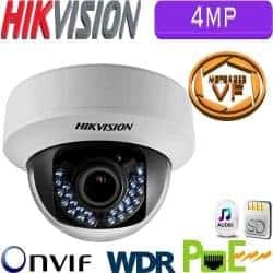 """מצלמת כיפה IP אינפרה 4MP עדשה חשמלית 2.8-12 מ""""מ כולל WDR מלא מיקרופון מובנה כרטיס זיכרון דגם DS-2CD2742FWD-IZS"""