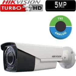 """מצלמת אבטחה צינור אינפרה 5MP טורבו Hikvision עדשה משתנה 2.8-12 מ""""מ טווח הארה 40  מטר דגם DS-2CE16H1T-AIT3Z"""