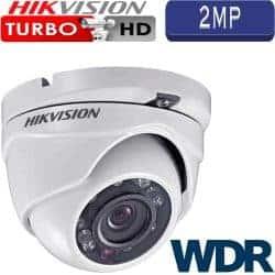 """מצלמת אבטחה כיפה אינפרה 2MP טורבו Hikvision עדשה 2.8 מ""""מ טווח הארה 20  מטר כולל WDR מלא דגם DS-2CE56D7T-ITM"""