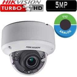 """מצלמת אבטחה כיפה אינפרה 5MP עדשה משתנה 2.8-12 מ""""מ טווח הארה 40 מטר דגם DS-2CE56H1T-AITZ"""