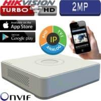 מערכת הקלטה Hikvision ל 4 מצלמות אבטחה + 1IP רזולוציה 2MP דיסק 500G דגם DS-7104HQHI-K1