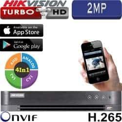 מערכת הקלטה Hikvision ל 4 מצלמות אבטחה רזולוציה 2MP דיסק 500G דגם DS-7204HQHI-K1