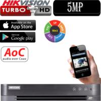 מערכת הקלטה Hikvision ל 8 מצלמות אבטחה + 8IP רזולוציה 5MP דיסק 1TB
