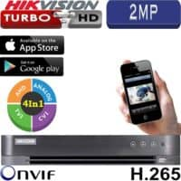 מערכת הקלטה Hikvision ל 16 מצלמות אבטחה + 8IP רזולוציה 2MP דיסק 1TB כניסת אזעקה