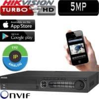 מערכת הקלטה Hikvision ל 16 מצלמות אבטחה + 16IP רזולוציה 5MP דיסק 1TB