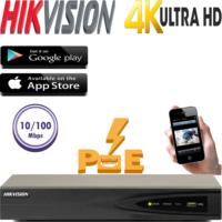 מערכת הקלטה NVR כולל PoE מובנה ל 4 מצלמות אבטחה רזולוציה 4K דיסק 1TB