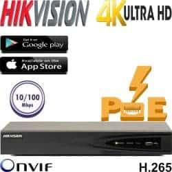 מערכת הקלטה NVR כולל PoE מובנה ל 4 מצלמות אבטחה רזולוציה 4K דיסק 500G דגם DS-7604NI-K1-4P