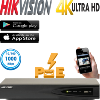 מערכת הקלטה NVR  כולל PoE מובנה ל 8 מצלמות אבטחה רזולוציה 4K דיסק 1TB