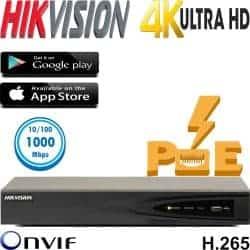 מערכת הקלטה NVR  כולל PoE מובנה ל 16 מצלמות אבטחה רזולוציה 4K דיסק 1TB דגם DS-7616NI-K2-16P