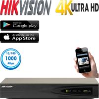 מערכת הקלטה NVR ל 8 מצלמות אבטחה רזולוציה 4K דיסק 1TB