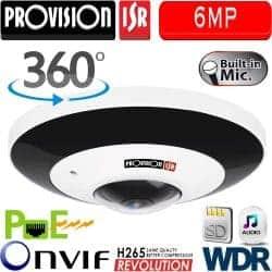 מצלמת כיפה IP אנטי וונדל אינפרה רזולוציה 6MP עדשה 360  כולל WDR מלא (120db) כולל מיקרופון מובנה