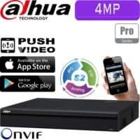 מערכת הקלטה היברידית HDCVR ל 16 מצלמות אבטחה 4MP בנוסף 8 מצלמות IP דיסק 2TB יציאת 4K דגם HCVR7116