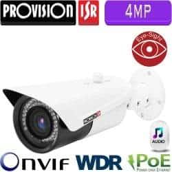 """מצלמת צינור IP רזולוציה 4MP, עדשה 3.6 מ""""מ כניסת אודיו לחיבור מיקרופון  WDR מלא (120db) טווח הארה 30 מטר"""