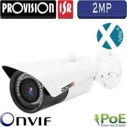 """מצלמת צינור IP רזולוציה 2MP, עדשה משתנה 2.8-12 מ""""מ, מרחק הארה 30 מטר ניתן להעביר חשמל ע""""ג רשת"""
