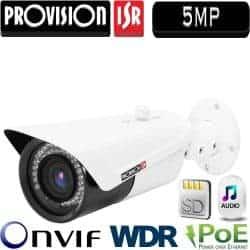 """מצלמת צינור IP אינפרה רזולוציה 5MP עדשה משתנה 3-11 מ""""מ כולל PoE כולל WDR מלא (120db) חיישן 1/1.8 אודיו דו כיווני"""