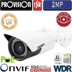 """מצלמת צינור IP אינפרה רזולוציה 2MP עדשה משתנה ממונעת 2.8-12 מ""""מ כולל WDR מלא, כרטיס זיכרון"""