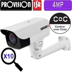 """מצלמת צינור IP ממונעת 4MP ניתנת לפיקוד טווח אופקי 250°, אנכי 65°, כולל זום אופטי כפול 10 עדשה 5-50 מ""""מ"""