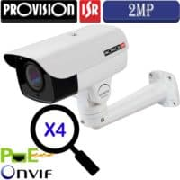 """מצלמת צינור IP ממונעת 2MP אינפרה זום חשמלי כפול 4 עדשה 2.8-12 מ""""מ כולל PoE"""