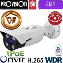 """מצלמת צינור IP ברזולוציית 4MP, עדשה חשמלית 9-22 מ""""מ, WDR מלא (120db) מרחק הארה 80 מטר אודיו דו כיווני"""