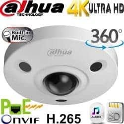 מצלמת כיפה IP רזולוציה 6MP 4K עדשה עין הדג 360 מעלות טווח הארה 10 מטר אנליטיקה מתקדמת IPC-EBW8630