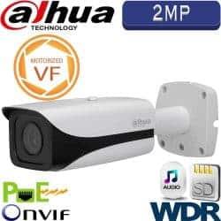 """מצלמת צינור IP אינפרה 2MP עדשה חשמלית 2.7-12 מ""""מ טווח הארה 50 מטר WDR מלא (120db)כולל אנליטיקה IPC-HFW5221E-Z"""