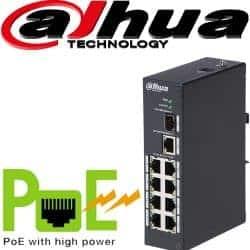 """סוויץ PoE ל 8 ערוצים 10/100 סה""""כ 96W כ8 ערוצי הורדה בנוסף קיימים עוד 2 ערוצי Uplink במהירות 1000Mbps דגם: PFS3110-8P-96"""