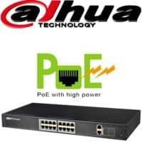 """סוויץ PoE ל 16 ערוצים 10/100 סה""""כ 250W כ16 ערוצי הורדה בנוסף קיימים עוד 2 ערוצי Uplink במהירות 1000Mbps דגם: PFS4018-16P-250"""