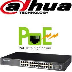 """סוויץ PoE ל 24 ערוצים 10/100 סה""""כ 250W כ24 ערוצי הורדה בנוסף קיימים עוד 2 ערוצי Uplink במהירות 1000Mbps דגם: PFS4026-24P-370"""