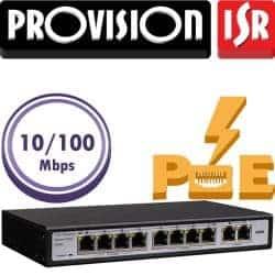 """סוויץ 8 ערוצים 10/100 PoE סה""""כ 120W הערוצים משמשים גם כ-Down-link/Up-link בנוסף קיימים עוד 2 ערוצי Up-link במהירות 100Mbps"""